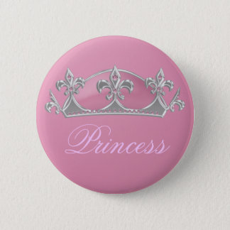 Mock Princess Crown in Pink & Silver with Diamonds Button