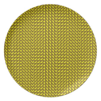 Mock rib stitch plate, yellow & dark brown dinner plate