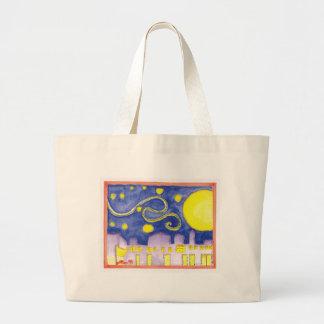 Mock Van Gogh Starry Night & Cafe Tote Bag