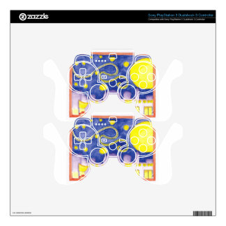 Mock Van Gogh Starry Night & Cafe Decal For PS3 Controller