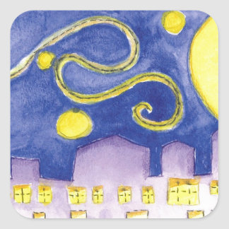 Mock Van Gogh Starry Night & Cafe Square Sticker
