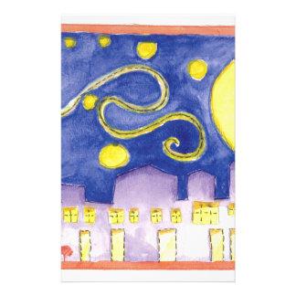 Mock Van Gogh Starry Night & Cafe Stationery