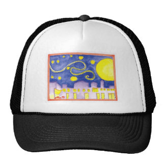 Mock Van Gogh Starry Night & Cafe Trucker Hat