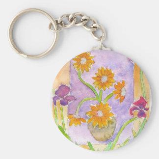 Mock Van Gogh Sunflowers & Irises Keychain