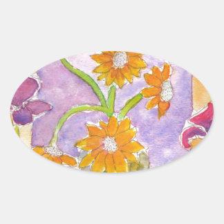 Mock Van Gogh Sunflowers & Irises Oval Sticker