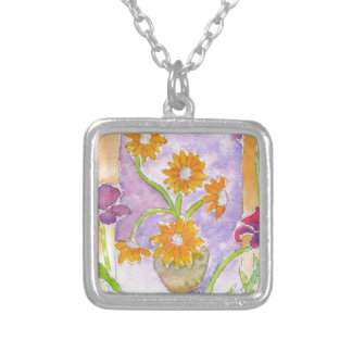 Mock Van Gogh Sunflowers & Irises Square Pendant Necklace