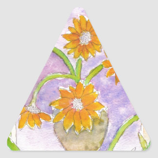 Mock Van Gogh Sunflowers & Irises Triangle Sticker