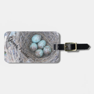 Mocking Bird Nest with Eggs Luggage Tag
