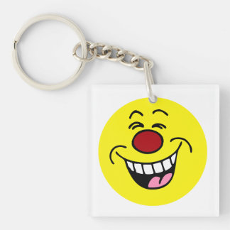 Mocking Smiley Face Grumpey Keychain