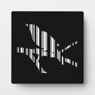 MOCKINGBIRD BAR CODE Bird Barcode Pattern Design Plaque