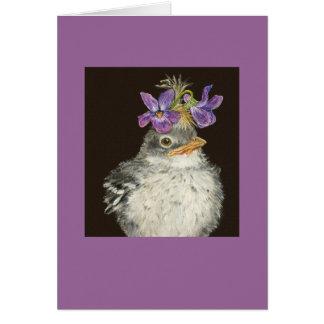 mockingbird del bebé con el gorra violeta felicitacion