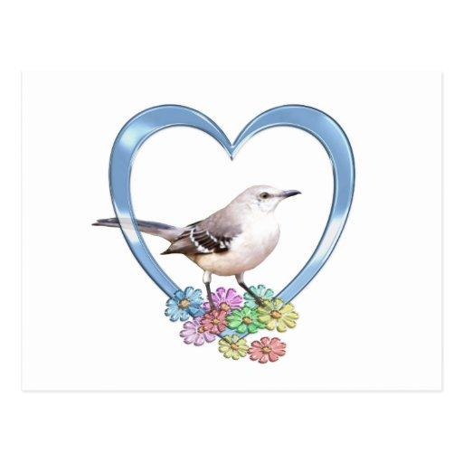 Mockingbird en corazón postales