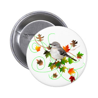 Mockingbird & Fall Leaves 2 Inch Round Button