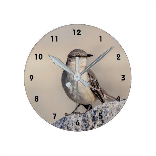 Mockingbird on a rock round clock