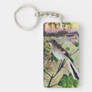 Mockingbird septentrional llavero rectangular acrílico a una cara