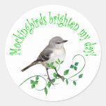Mockingbirds Brighten My Day Stickers