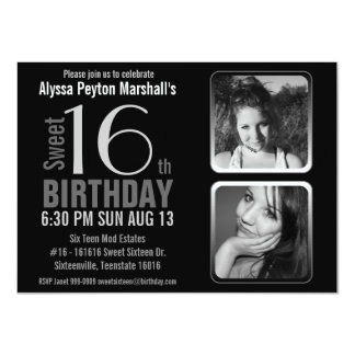 Mod 2 Photos Black and White Sweet 16 Birthday 4.5x6.25 Paper Invitation Card
