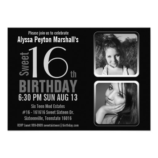 Mod 2 Photos Black and White Sweet 16 Birthday Personalized Invites