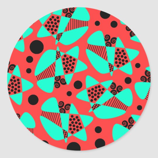 Mod Abstract Classic Round Sticker
