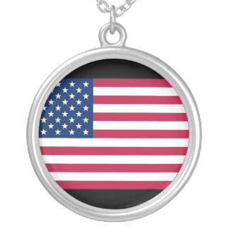 Mod American Flag Silver Necklace