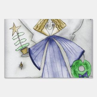 Mod Angel in Blue Yard Sign