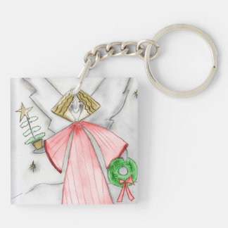 Mod Angel in Red Square Acrylic Key Chain