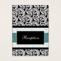 mod aqua damask Reception   Cards