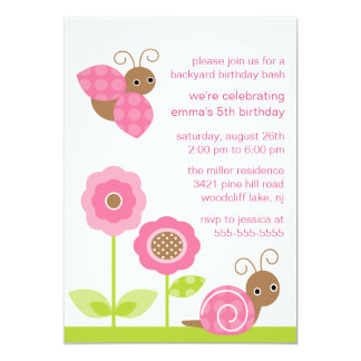 "Mod Baby Bugs Birthday Invitation 5"" X 7"" Invitation Card"