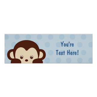 Mod Baby Monkey Personalized Banner Poster