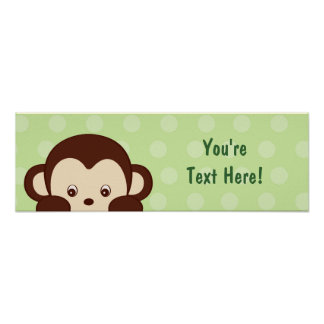 Mod Baby Monkey Personalized Banner Posters
