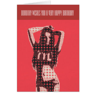 Mod Bikini Chick Birthday Card