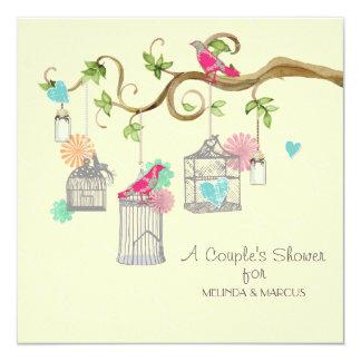 Mod Bird Cage Mason Jar Heart Floral Bridal Shower Card