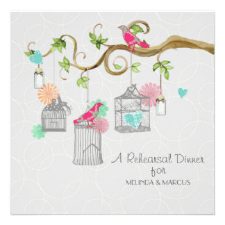 Mod Bird Cage Mason Jar Heart Floral Bridal Shower Personalized Invites