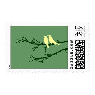 mod birds postage stamp