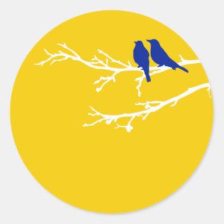 mod birds round sticker