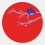 mod birds round stickers
