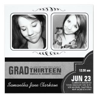 Mod Black and White  Double Photo Graduation 5.25x5.25 Square Paper Invitation Card