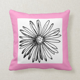 Mod Black and White Flower Pink Accent Pillow