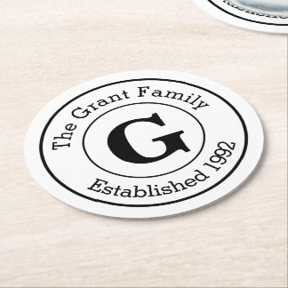Mod Black and White Personalized Monogram Family Round Paper Coaster