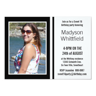 Mod Black and White Photo Sweet 16 4.5x6.25 Paper Invitation Card