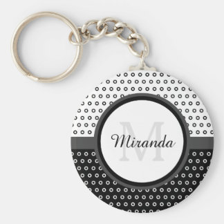 Mod Black and White Polka Dots Monogram With Name Keychain