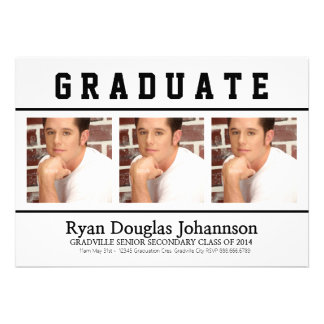 Mod Black and White Three Photos Grad Personalized Announcement