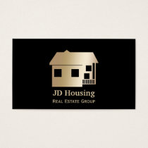 Mod black gold Classy Real estate  businesscards Business Card