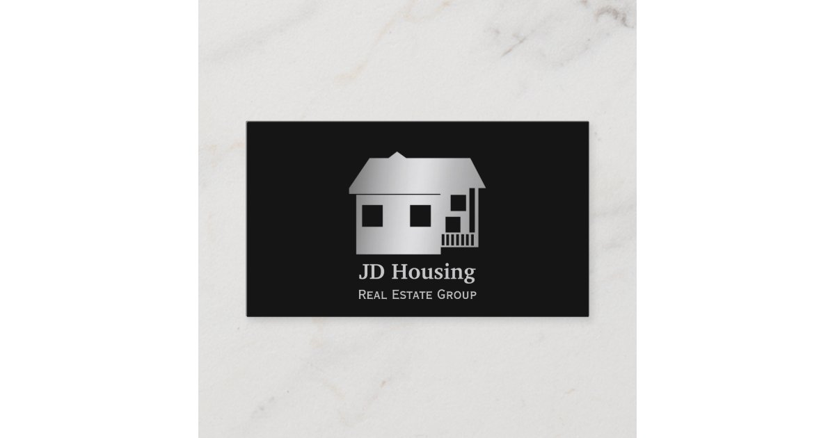 Mod black silver classy real estate businesscards business card reheart Image collections
