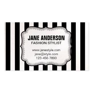 Mod Black White Stripes Pattern FASHION STYLIST Business Cards