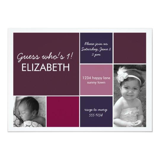 Mod block birthday photocard or birth announcement