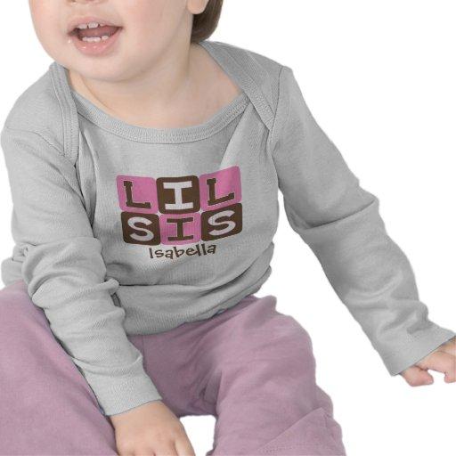 MOD Blocks Lil Sis - Pink & Brown Personalized T-shirts