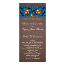 mod blue brown Wedding program