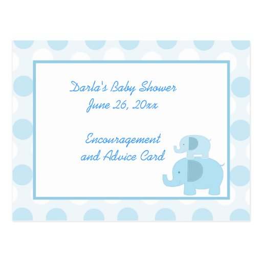 mod blue elephant baby shower advice cards zazzle