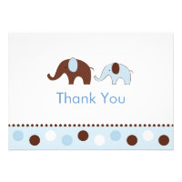 Mod Blue Elephant Flat Thank You Note Cards Invitations